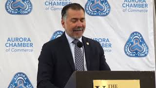 Youtube video::Mayor Tom Mrakas speaks at the Aurora Chamber of Commerce