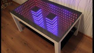 2 независимые подсветки infinity mirror table столик с подсветкой бесконечности