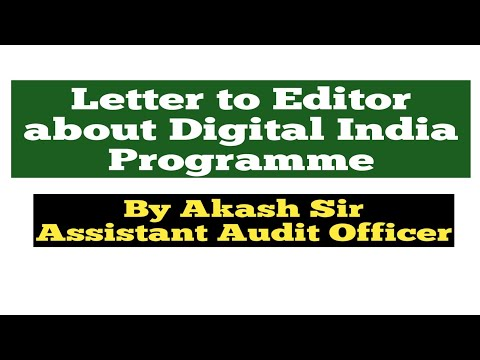 Letter to Editor about the Digital India Programme/Latest Format/SSC MTS CHSL CGL/IB ACIO/OTHERS