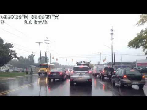 Driving from Troy, Michigan to Detroit, Michigan (Rainy Drive) 09/30/16