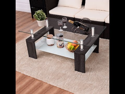 Costway Black Rectangular Tempered Glass Coffee Table Shelf Wood Living Room Furniture