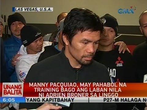 UB: Manny Pacquiao, may pahabol na training bago ang laban nila ni Adrien Broner sa Linggo