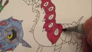How to draw Pokemon: No.543 Venipede, No. 544 Whirlipeda, No.545 Scolipede