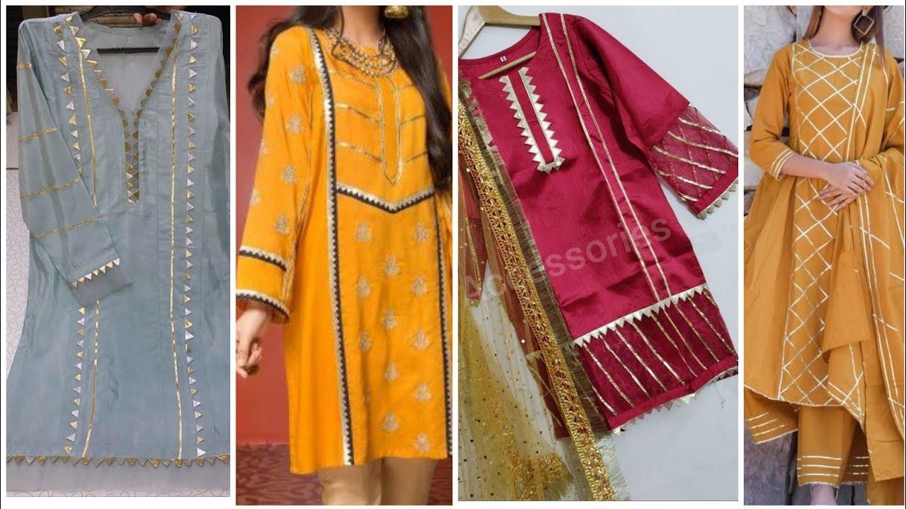 Upcoming Usefull Kurtis Designing With Gotta Kiran Dhanak Patches Work Summer Dress Eidwear Youtube