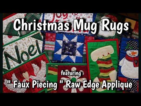 Christmas Mug Rugs Featuring Faux