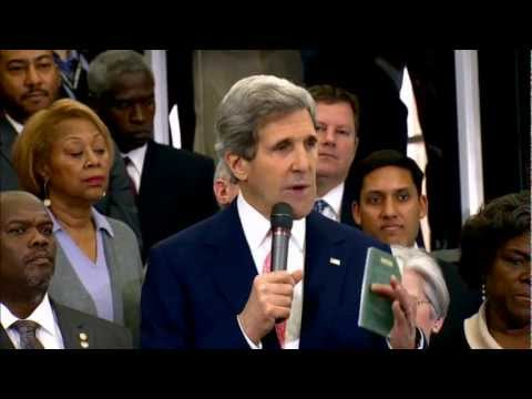 Secretary Kerry Delivers Remarks Upon his Arrival to the Department of State