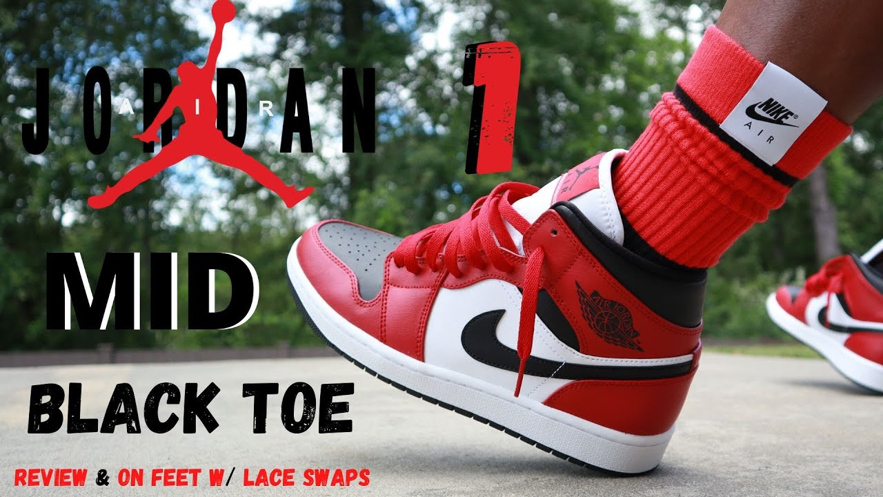 Jordan 1 Mid Black Toe Review On Feet W Lace Swaps Youtube