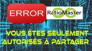 RatioMaster : Résoudre l'erreur