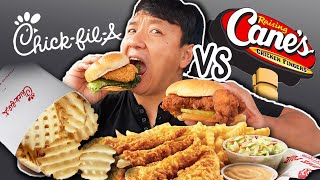 FIRST TIME Trying RAIŠING CANES Chick fil A vs Raising Canes FAST FOOD REVIEW