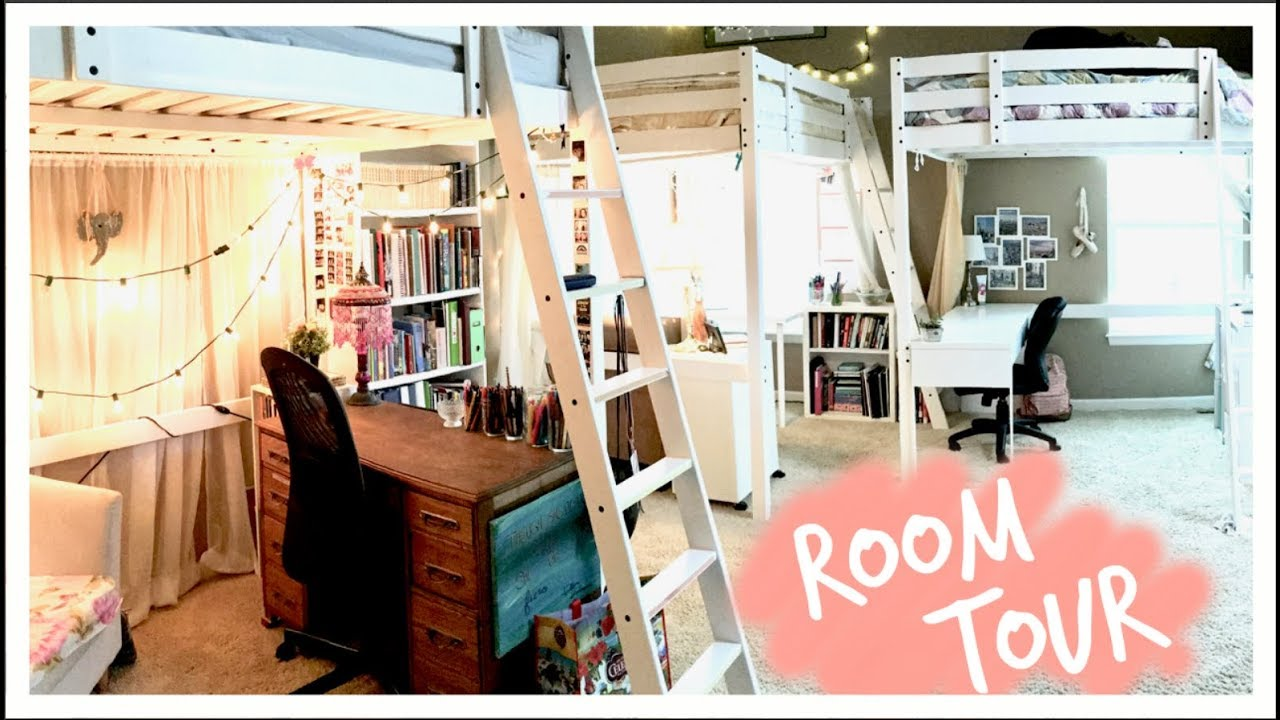 updated loft bed room tour three peas youtube. Black Bedroom Furniture Sets. Home Design Ideas