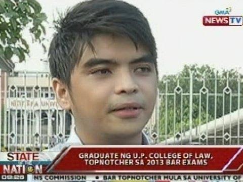 SONA: Graduate ng UP College of Law, topnotcher sa 2013 Bar Exam