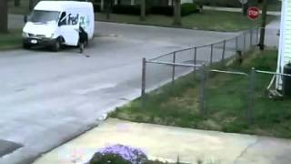 FedEx truck barely misses house roll away