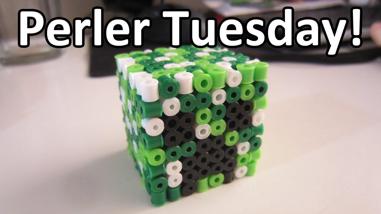 PERLER BEAD: 3D CREEPER HEAD! (Giveaway #72) Tutorial & How To ...