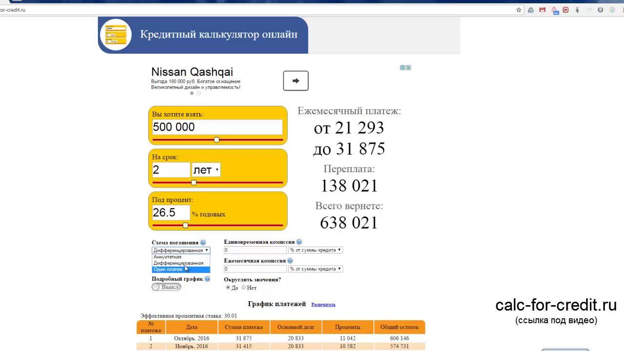 Кредитный калькулятор с учетом всех возможных условий по кредиту для расчета ежемесячного платежа по классической или аннуитетной схемам.