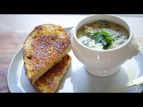 White Bean Soup With Sausage And Kale And Parmesan Encrusted Grilled Cheese Sandwiches