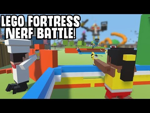 Lego Fortress vs Mega Bloks Nerf Battle! - Tiny Town Gameplay Roleplay - Toy City Building Game!