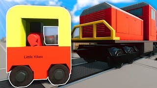 CAN A LITTLE TIKES STOP A TRAIN? - Brick Rigs Multiplayer Gameplay - Lego Train Crashes