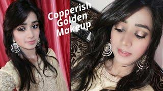 Copperish Golden Eye Makeup    Golden Dress Makeup Look