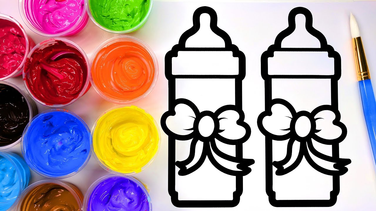 coloring painting pretty baby bottles coloring pages for children