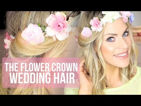 Wedding Hairstyle Flower Crown Hair Tutorial Youtube