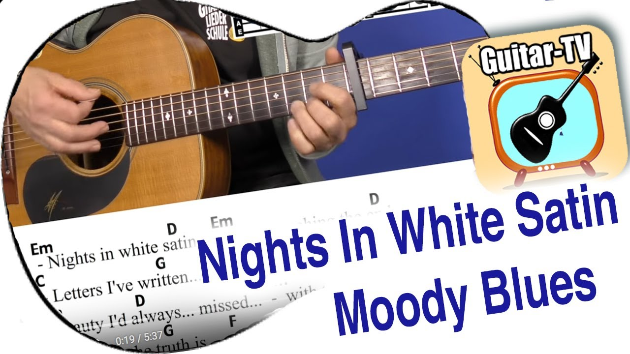 155.15 Nights in White Satin   Moody Blues, Cover, Chords, Lyrics, Tutorial,  Play Along, Lesson