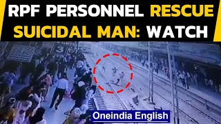 RPF rescue suicidal man | Virar station viral video | Oneindia News