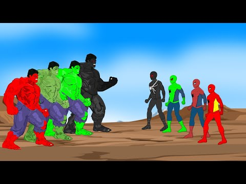 Color Team Hulk vs Color Team Spider-Man [HD] | SUPER HEROES MOVIE ANIMATION