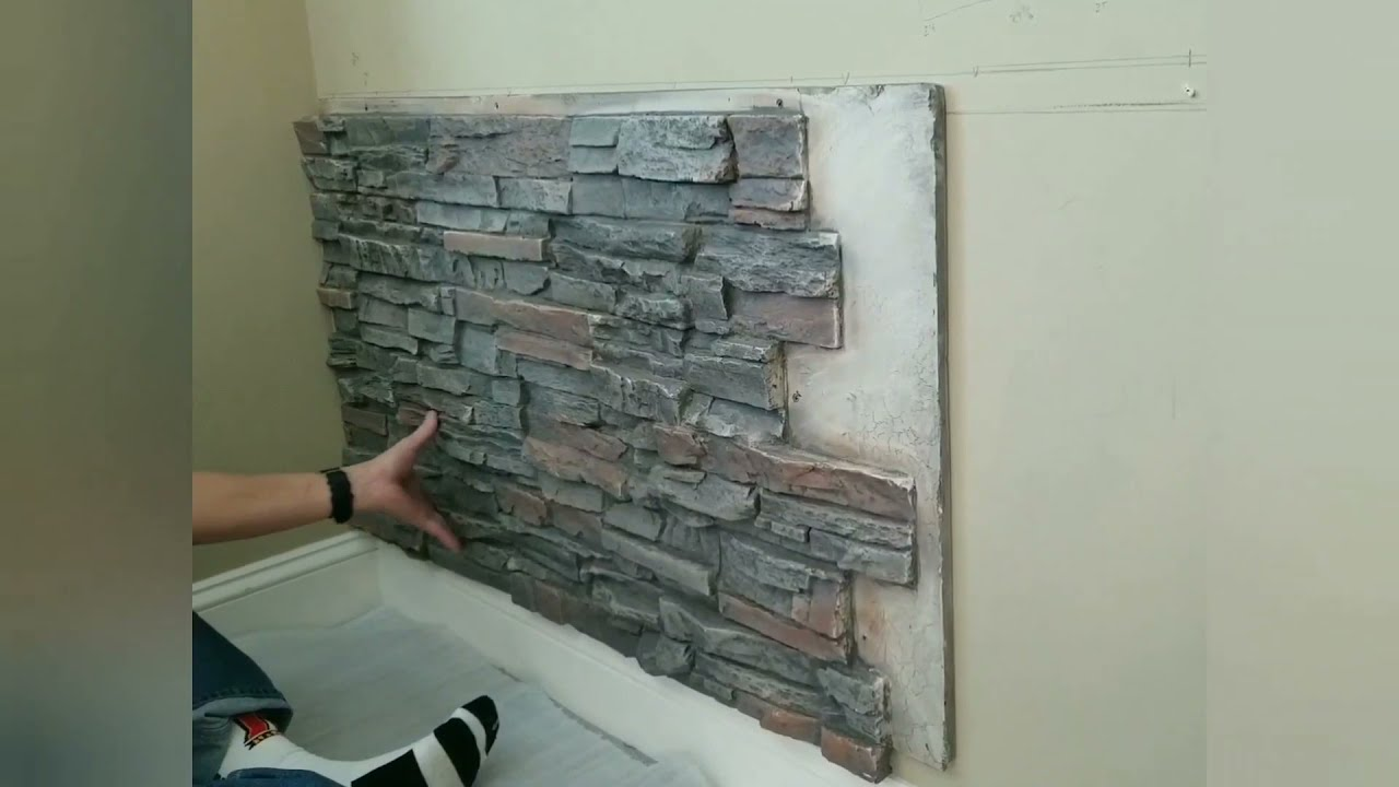 Faux Stone Accent Wall Installation Diy Demonstration You