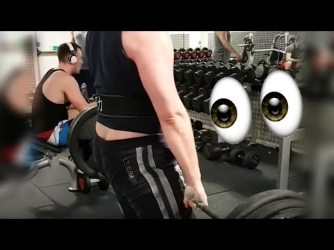 Amateur Powerlifter Shows His Ass Crack To The Whole Gym While Deadlifting | 180kg/405lb For 5 Reps