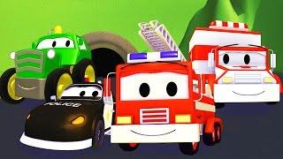消防车和警车在汽车城 ???? 儿童卡通片周末特辑7