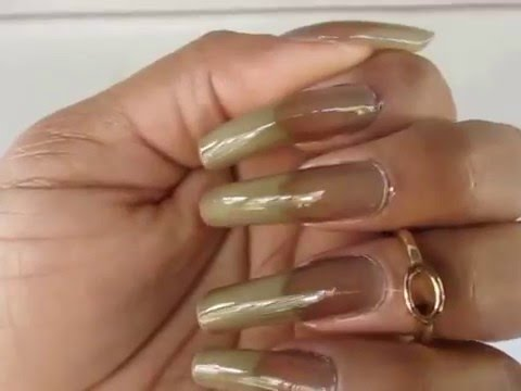 DIY Black Sheer Natural Long Nails in Motion - YouTube