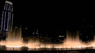 Dubai, UAE: Dubai Fountain to Arabic music, view from Armani Hotel, Burj Khalifa (17 Nov 2011)