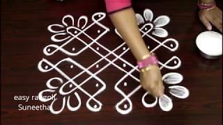 Simple flower kolam || Easy rangoli with dots || Latest muggulu || Cute designs