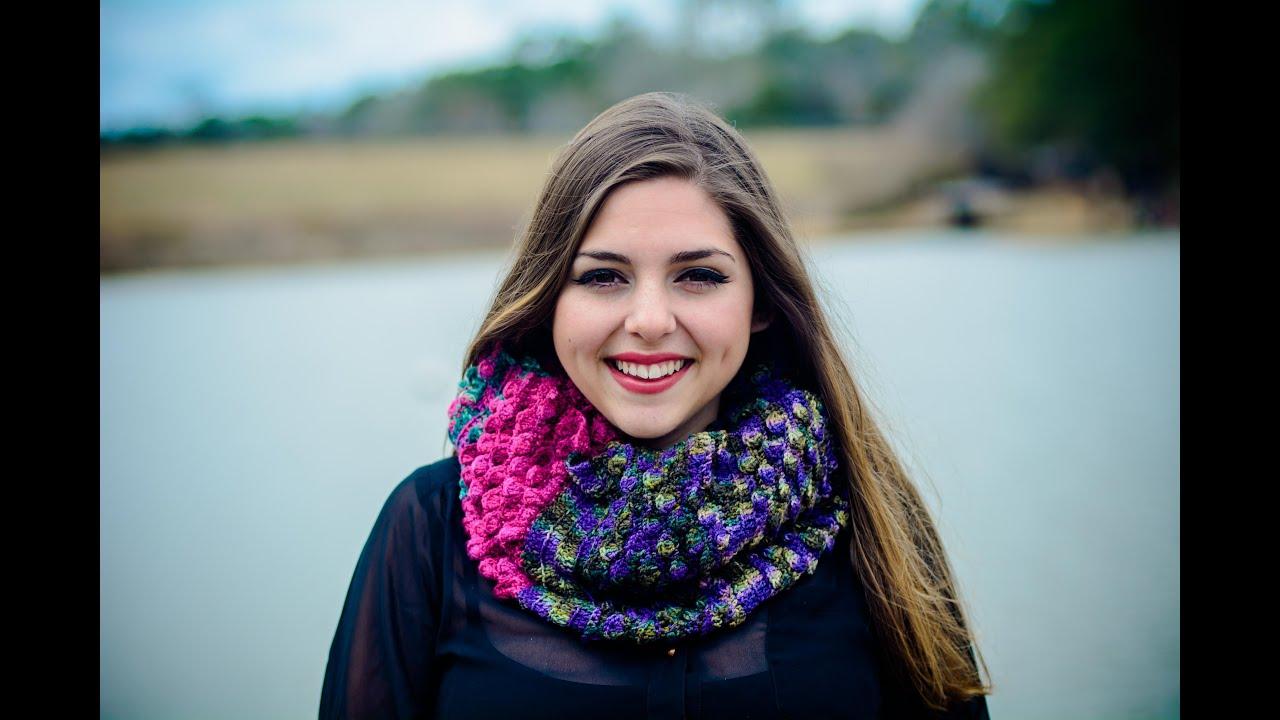 Bufanda infinita tejida a crochet Punto Petalos esparcidos 001 , YouTube