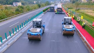 How do unmanned road pavers and rollers help maintain highway