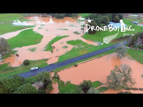 Drone Footage of Flooding In Pukekohe, South Auckland, New Zealand.