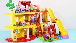 Peppa Pig Blocks Mega House Toys For Kids - Lego Duplo House With Water Slide Construction Sets #7