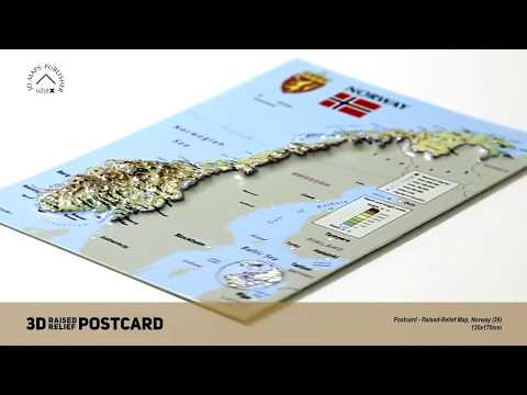 Postcard - 3D Raised Relief Map of Norway