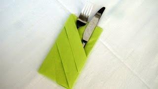 Repeat youtube video Servietten falten: Bestecktasche Falten - Einfache Tischdeko z.B. Hochzeit