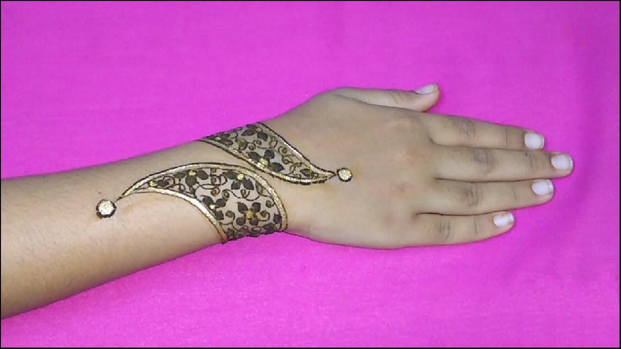 Henna bracelet design using glitter mehndi bracelet type design henna bracelet design using glitter mehndi bracelet type design with glitter tutorial videos baditri Images