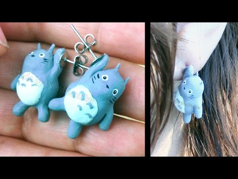DIY HANGING TOTORO Earrings Polymer Clay Tutorial