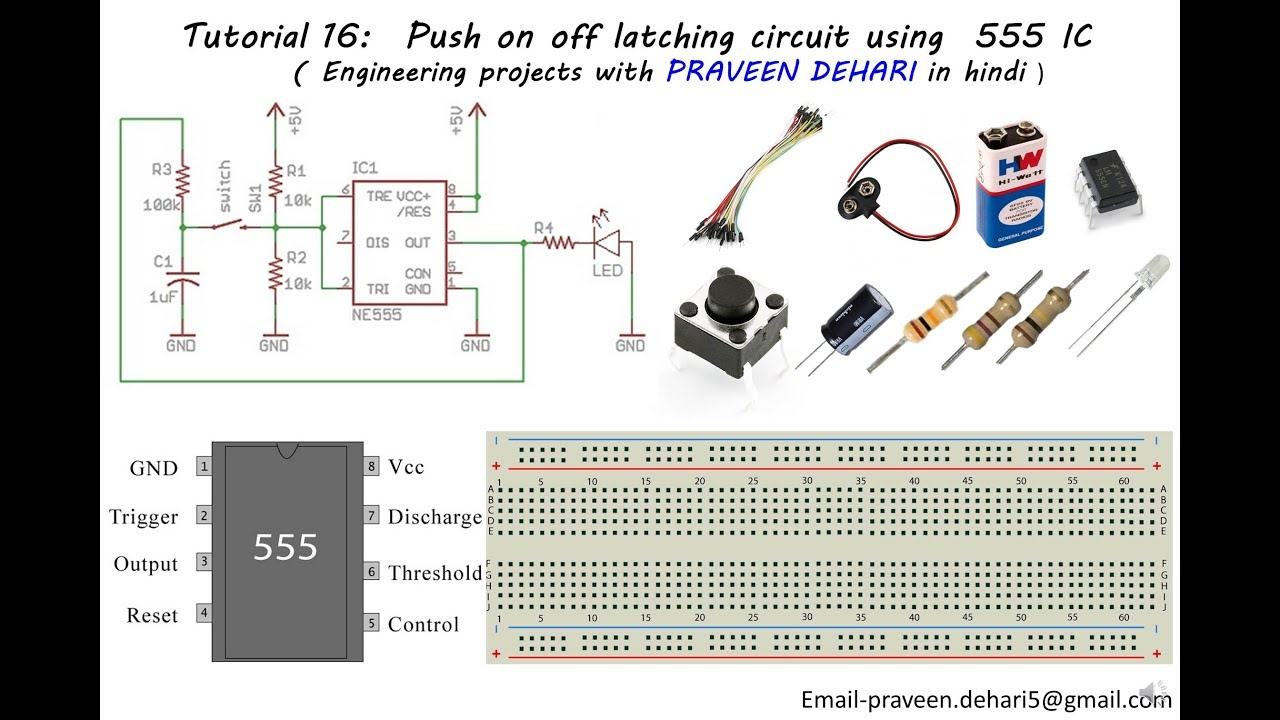 push on off latching circuit using 555 ic tutorial 16 [ 1280 x 720 Pixel ]