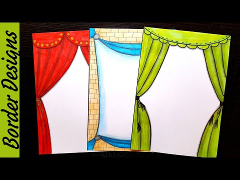 Curtain | Border designs on paper | border designs | project work designs | borders for projects