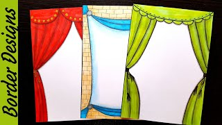 Curtain Border designs on paper border designs project work designs borders for projects