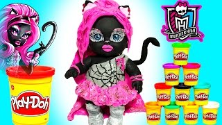 Кукла Пупсик СТАЛА МОНСТЕР ХАЙ КЕТТИ НУАР Барби Лепим из пластилина Плей До Игры для девочек