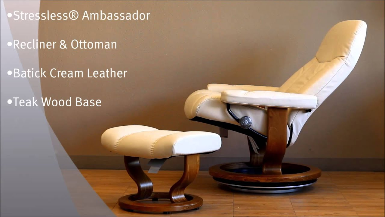 Stressless Ambassador Recliner and Ottoman in Batick Cream Leather and Teak Wood Base By Ekornes - YouTube & Stressless Ambassador Recliner and Ottoman in Batick Cream Leather ... islam-shia.org