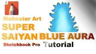How to Draw SUPER SAIYAN BLUE AURA in Sketchbook Pro | SSGSS | Digital Art Tutorial | Mahnster Art
