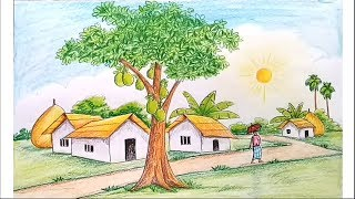 How to draw scenery of summer season step by step