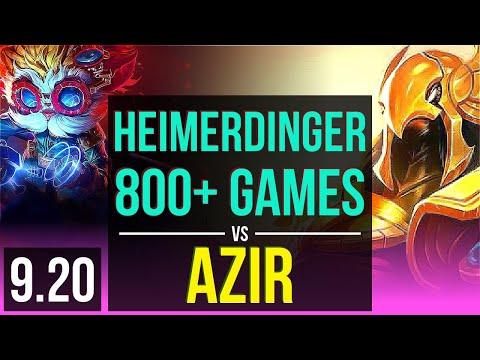 HEIMERDINGER vs AZIR (MID) | 4.0M mastery points, Rank 9 Heimerdinger | NA Grandmaster | v9.20