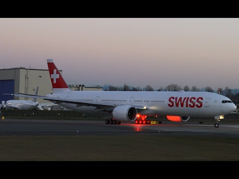 Swiss' First 777 Golden Hour Takeoff for Pilot Training @ KPAE